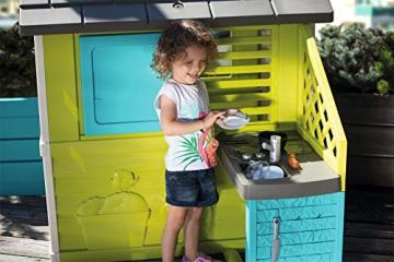 Smoby 810711 Pretty Spielhaus mit Sommerküche, Kinderspielhaus mit Kinderküche für Kinder ab 2 Jahren, türkis - 5