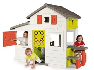 Smoby – Friends House - Spielhaus für Kinder für drinnen und draußen, mit Sitzbank, Türklingel, Fenstern. Gartenhaus für Jungen und Mädchen ab 2 Jahren - 4