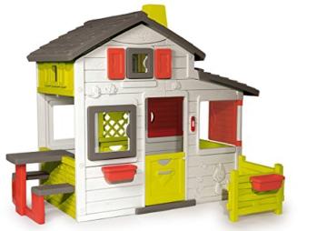 Smoby – Friends House - Spielhaus für Kinder für drinnen und draußen, mit Sitzbank, Türklingel, Fenstern. Gartenhaus für Jungen und Mädchen ab 2 Jahren - 1