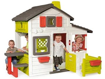 Smoby – Friends House - Spielhaus für Kinder für drinnen und draußen, mit Sitzbank, Türklingel, Fenstern. Gartenhaus für Jungen und Mädchen ab 2 Jahren - 5