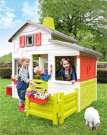 Smoby – Friends House - Spielhaus für Kinder für drinnen und draußen, mit Sitzbank, Türklingel, Fenstern. Gartenhaus für Jungen und Mädchen ab 2 Jahren - 7