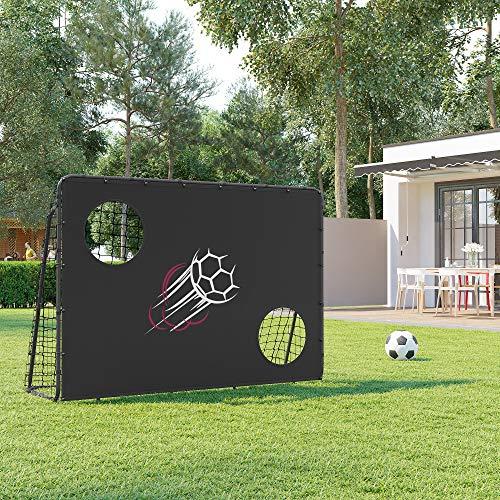 SONGMICS Fußballtor für Kinder, mit Torwand, schnelle Montage, Garten, Park, Strand, Eisenrohre und PE-Netz, schwarz SZQ215B02 - 2