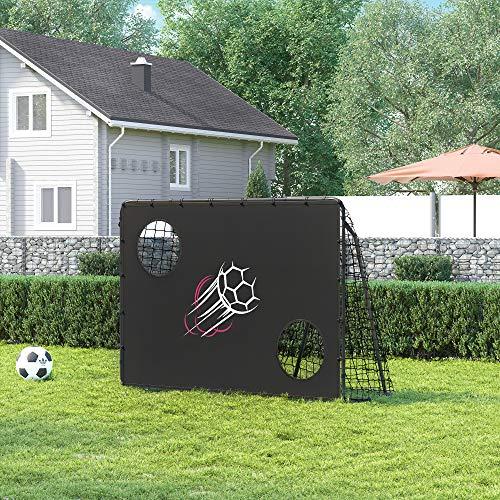 SONGMICS Fußballtor für Kinder, mit Torwand, schnelle Montage, Garten, Park, Strand, Eisenrohre und PE-Netz, schwarz SZQ215B02 - 3