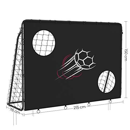 SONGMICS Fußballtor für Kinder, mit Torwand, schnelle Montage, Garten, Park, Strand, Eisenrohre und PE-Netz, schwarz SZQ215B02 - 4