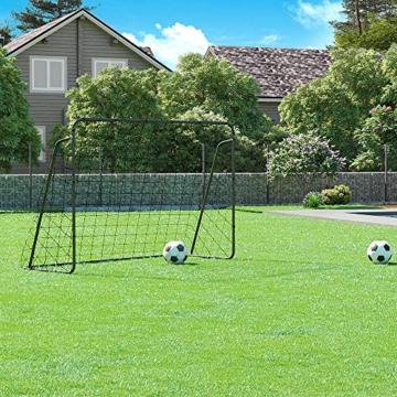 SONGMICS Fußballtor für Kinder, schnelle Montage, Garten, Park, Strand, Eisenrohre und PE-Netz, schwarz SZQ300BK - 2