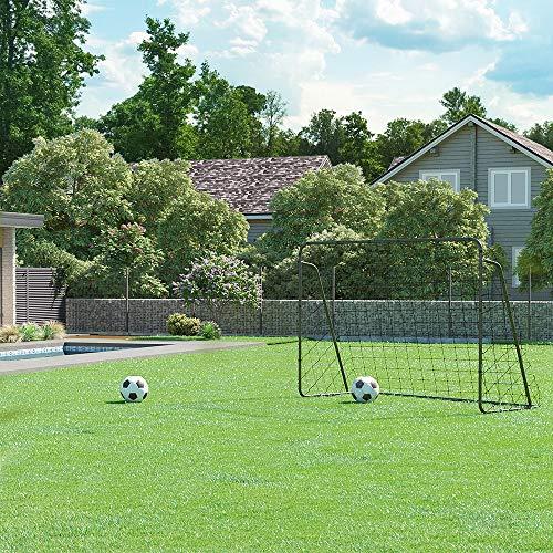 SONGMICS Fußballtor für Kinder, schnelle Montage, Garten, Park, Strand, Eisenrohre und PE-Netz, schwarz SZQ300BK - 3