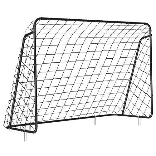 SONGMICS Fußballtor für Kinder, schnelle Montage, Garten, Park, Strand, Eisenrohre und PE-Netz, schwarz SZQ300BK - 1