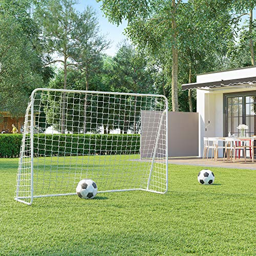 SONGMICS Fußballtor für Kinder, schnelle Montage, Garten, Park, Strand, pulverbeschichtete Rohre und PE-Netz, weiß SZQ215W01 - 2