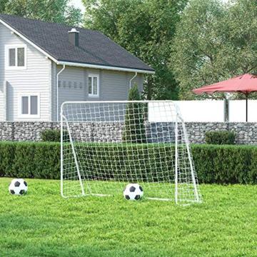 SONGMICS Fußballtor für Kinder, schnelle Montage, Garten, Park, Strand, pulverbeschichtete Rohre und PE-Netz, weiß SZQ215W01 - 3