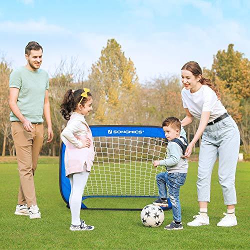 SONGMICS Fußballtore für Kinder, 2er Set, faltbar, Garten, Park, Strand, Gestell aus Stahldrähten, Haltestangen aus Glasfaserstäben, Oxford-Gewebe und Polyester, blau-schwarz SZQ122Q01 - 3