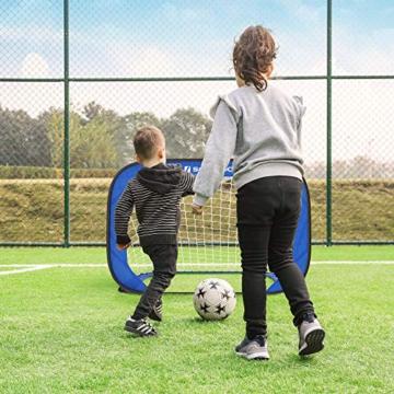 SONGMICS Fußballtore für Kinder, 2er Set, faltbar, Garten, Park, Strand, Gestell aus Stahldrähten, Haltestangen aus Glasfaserstäben, Oxford-Gewebe und Polyester, blau-schwarz SZQ122Q01 - 7