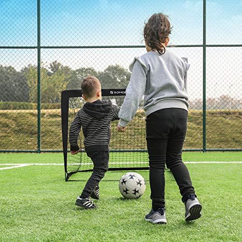 SONGMICS Fußballtore für Kinder, 2er Set, Pop-up, schneller Aufbau, Garten, Park, Strand, Gerüst aus Glasfaserstäben, Oxford-Gewebe und Polyesternetz, schwarz SZQ122B02 - 7