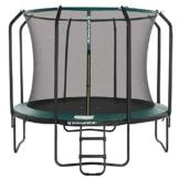 SONGMICS Trampolin 305 cm, rundes Gartentrampolin mit Sicherheitsnetz und Leiter, gepolstertes Gestell, für Kinder und Erwachsene, schwarz-dunkelgrün STR103C01 - 1
