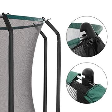 SONGMICS Trampolin 305 cm, rundes Gartentrampolin mit Sicherheitsnetz und Leiter, gepolstertes Gestell, für Kinder und Erwachsene, schwarz-dunkelgrün STR103C01 - 5