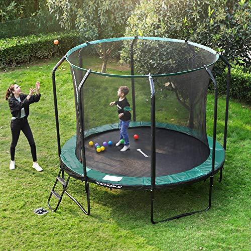 SONGMICS Trampolin 305 cm, rundes Gartentrampolin mit Sicherheitsnetz und Leiter, gepolstertes Gestell, für Kinder und Erwachsene, schwarz-dunkelgrün STR103C01 - 7