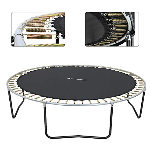 SONGMICS Trampolin 305 cm, rundes Gartentrampolin mit Sicherheitsnetz und Leiter, gepolstertes Gestell, für Kinder und Erwachsene, schwarz-dunkelgrün STR103C01 - 8