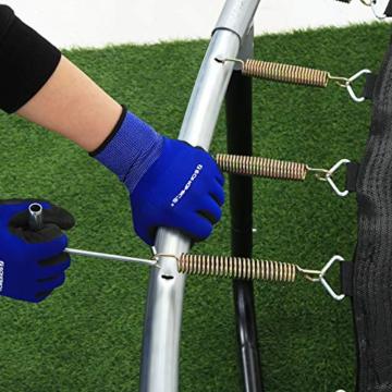 SONGMICS Trampolin 366 cm, rundes Gartentrampolin mit Sicherheitsnetz und Leiter, gepolstertes Gestell, für Kinder und Erwachsene, schwarz-dunkelgrün STR123C01 - 4