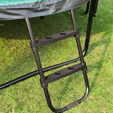 SONGMICS Trampolin 366 cm, rundes Gartentrampolin mit Sicherheitsnetz und Leiter, gepolstertes Gestell, für Kinder und Erwachsene, schwarz-dunkelgrün STR123C01 - 6
