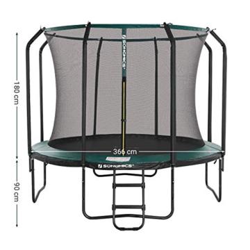 SONGMICS Trampolin 366 cm, rundes Gartentrampolin mit Sicherheitsnetz und Leiter, gepolstertes Gestell, für Kinder und Erwachsene, schwarz-dunkelgrün STR123C01 - 7