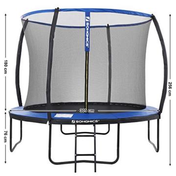 SONGMICS Trampolin Ø 305 cm, rundes Gartentrampolin mit Sicherheitsnetz, mit Leiter und gepolsterten Stangen, Sicherheitsabdeckung, TÜV Rheinland getestet, sicher, Outdoor, schwarz, blau STR10BK - 5