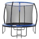 SONGMICS Trampolin Ø 366 cm, rundes Gartentrampolin mit Sicherheitsnetz, mit Leiter und gepolsterten Stangen, Sicherheitsabdeckung, TÜV Rheinland getestet, sicher, Outdoor, schwarz, blau STR12BK - 1