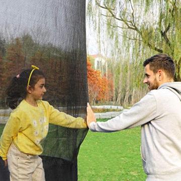 SONGMICS Trampolin Ø 427 cm, rundes Gartentrampolin mit Sicherheitsnetz, mit Leiter und gepolsterten Stangen, Sicherheitsabdeckung, TÜV Rheinland getestet, sicher, schwarz-dunkelgrün STR141C01 - 2