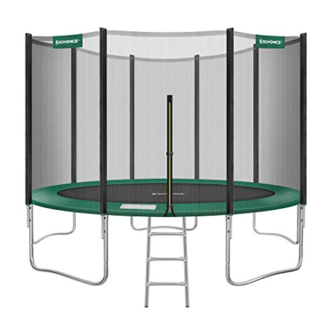 SONGMICS Trampolin Ø 427 cm, rundes Gartentrampolin mit Sicherheitsnetz, mit Leiter und gepolsterten Stangen, Sicherheitsabdeckung, TÜV Rheinland getestet, sicher, schwarz-dunkelgrün STR141C01 - 1