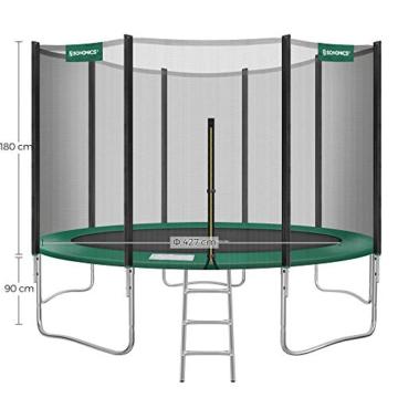 SONGMICS Trampolin Ø 427 cm, rundes Gartentrampolin mit Sicherheitsnetz, mit Leiter und gepolsterten Stangen, Sicherheitsabdeckung, TÜV Rheinland getestet, sicher, schwarz-dunkelgrün STR141C01 - 5