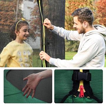 SONGMICS Trampolin Ø 427 cm, rundes Gartentrampolin mit Sicherheitsnetz, mit Leiter und gepolsterten Stangen, Sicherheitsabdeckung, TÜV Rheinland getestet, sicher, schwarz-dunkelgrün STR141C01 - 8