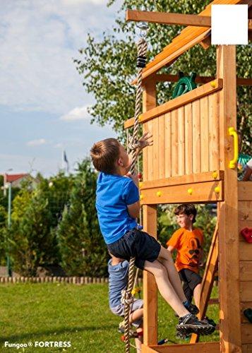 Spielandschaft MAXI FUN GYM Podesthöhe 145/125 cm mit 2,90 m Rutsche Schaukel Brücke - 4