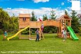 """Spielanlage Spielturm """"SIZED PLAZA"""" 145cm Podest Rutsche 290, Schaukel und Holz Fungoo - 1"""