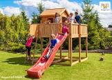 Spielhaus MYSPACE XL aus Holz Kinderspielhaus Gartenhaus Kletterturm Rutsche - 1