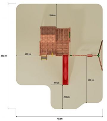 Spielhaus MYSPACE XL -Move- Podesthöhe 145 cm mit 2,90 m Rutsche Doppelschaukel - 3