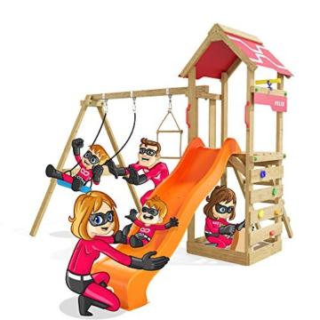 Spielturm Active Heroows Schaukelgestell mit Sandkasten und Kletterwand, Schaukel & Rutsche, viel Zubehör - 1