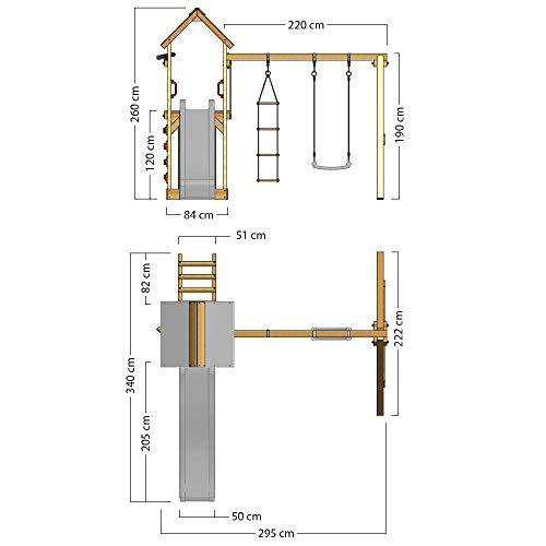 Spielturm Active Heroows Schaukelgestell mit Sandkasten und Kletterwand, Schaukel & Rutsche, viel Zubehör - 7