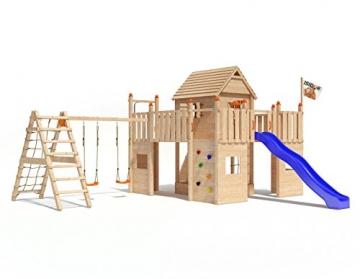Spielturm Baumhaus Fort Fox von ISIDOR mit erweitertem Schaukelanbau, Doppelschaukel, Rutsche, Kletternetz, hissbarer Fahne und Kletterrampe auf 1,50 Meter Podesthöhe (blau) -