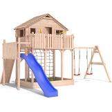 Spielturm Baumhaus Stelzenhaus Spielhaus Sandkasten + Rutsche + Schaukeln 2,0m Podesthöhe (einfacher Schaukelanbau) -