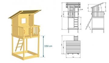 Spielturm Beach Hut - Blue Rabbit 2.0 - Podesthöhe 150cm mit Rutsche 300 cm Pfosten 9x9cm - 2