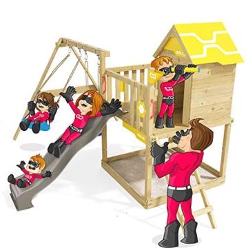 Spielturm Brilliant Heroows Schaukelgestell mit Doppelschaukel und großem Sandkasten, Rutsche und Stelzenhaus - 1