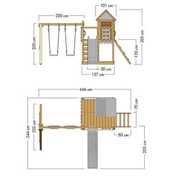 Spielturm Brilliant Heroows Schaukelgestell mit Doppelschaukel und großem Sandkasten, Rutsche und Stelzenhaus - 7
