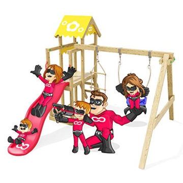 Spielturm Caring Heroows Schaukelgestell mit Kletterleiter, Sandkasten, Schaukel & Rutsche - 1