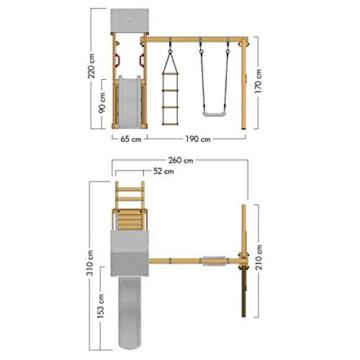 Spielturm Caring Heroows Schaukelgestell mit Kletterleiter, Sandkasten, Schaukel & Rutsche - 7