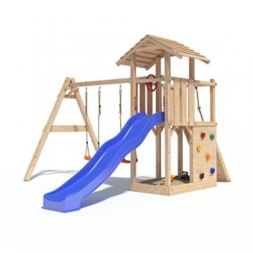 Spielturm EMPIRE von Oskar mit Schaukelanbau, Doppelschaukel, Rutsche, Kletterwand, Lenkrad und Kletterrampe auf 1,20 Meter Podesthöhe -