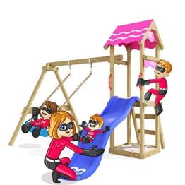 Spielturm Fast Heroows Kinder Schaukelgestell für den Garten mit Rutsche & Sandkasten - 1