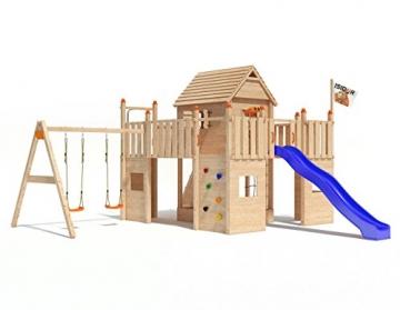 Spielturm Fort Fox von ISIDOR mit Doppelschaukel, Rutsche, Kletternetz, hissbarer Fahne und Kletterrampe auf 1,50 Meter Podesthöhe -