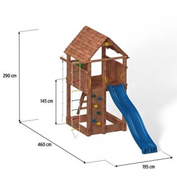 Spielturm FORTRESS Kletterturm mit 2,9 m Rutsche Sandkasten Kletterwand und vielen Klettermöglichkeiten - 2