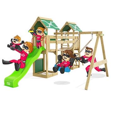 Spielturm Impressive Heroows Schaukelgestell mit Wackelbrücke, 2 Sandkästen, Kletterwand, Kletterleiter, Schaukel & Rutsche - 1