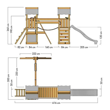 Spielturm Impressive Heroows Schaukelgestell mit Wackelbrücke, 2 Sandkästen, Kletterwand, Kletterleiter, Schaukel & Rutsche - 7