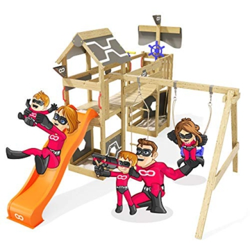 Spielturm Incredible Heroows Schaukelgestell mit Wackelbrücke, 2 Sandkästen, Kletterleiter, Schaukel & Rutsche - 1