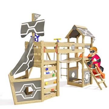 Spielturm Incredible Heroows Schaukelgestell mit Wackelbrücke, 2 Sandkästen, Kletterleiter, Schaukel & Rutsche - 5